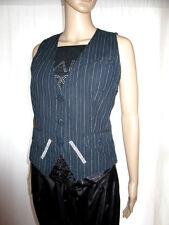 BIAGGINI Womens Striped Embellish Waistcoat Casual Goth Sexy Vamp sz M AH60