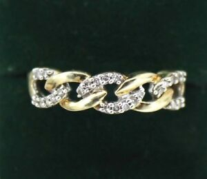 9CT GOLD DIAMOND CHAIN LINK RING SIZE M 1/2, LADIES / MENS, WEDDING PROMISE BAND