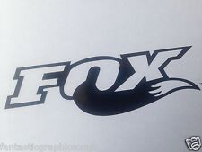 2x FOX Shox Tail Vinile Decalcomania Adesivo FORCHETTE / MOTO / CORNICE SET NERO LUCIDO