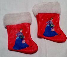 Disney Princess Cinderella Small Red White Blue Christmas Stocking Set Of 2