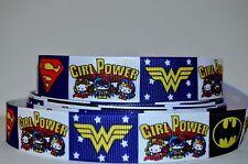 """1 yd 7/8"""" Grosgrain Ribbon GIRL POWER SUPER HEROES PRINTED 4 HAIRBOWS"""