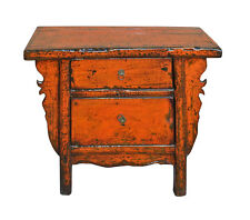 Chinese Rustic Rough Wood Distressed Orange Side Table Cabinet cs3148