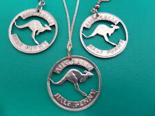 Kangaroo Australia Penny, cut out pewter aussie history coin necklace + earring