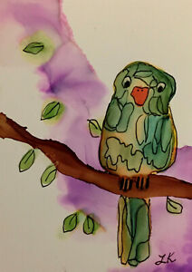 ACEO art Print green lined bird on a branch by Lynne Kohler