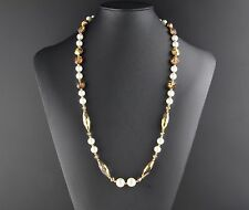 "Vintage Signed Vendome Necklace - Pearls, Arum Crystals, & Topaz ""Aspirin"" Beads"