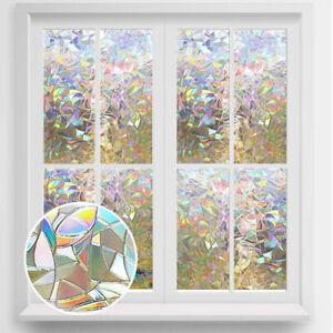 Rainbow Refraction 3D Window Film Static Self-adhesive Privacy Glass Sticker UK