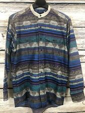 Vintage Wrangler Single Needle Western Collarless Shirt Cowboy Mens Size 16-1/2