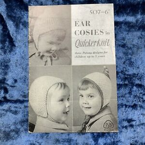 Vintage Knitting Booklet - 507 P&B Wools - 6 months - 5 Years Hats x 3 designs