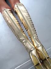 NEW HOHE Lang Stiefel 1 cm Plateau VIP Damen Boots P35 Schuhe High Heels Gold 36