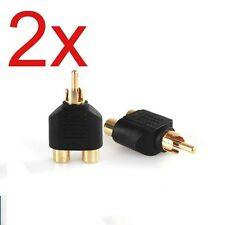 2PCS 1 to 2 RCA Phono Audio Video AV Y Splitter Adapter Mono to Stereo Nickel Pl