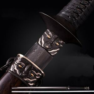 Prince of Qi Sword Knife Pattern Steel Clay Tempered Polishing Battle Ready#4761