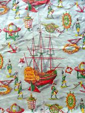 grand coupon de tissu, décor La caravelle, vintage années 60