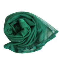 Green Dress Neck Dupatta Vintage Women Wrap Long Stole Indian Craft Fabric Scarf