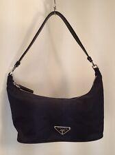 Genuine PRADA Sirio Tessuto Navy Blue Nylon Mini Hobo Bag Leather Purse Italy