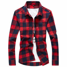 New FASHION Men Plaid Check Long Sleeve Casual Shirt Slim Fit T-Shirts Tees Tops