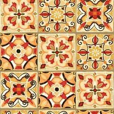 Wilmington Bohemian Roosters by Daphne B 44061 138 Red/Orange Tiles Cotton Fab
