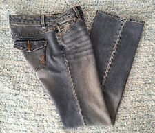 Daisy Fuentes Womens Jeans Flare Low Rise Flap Pocket Medium Wash Denim Size 2