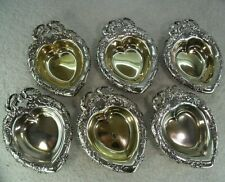 Quality Set of 6 Reed & Barton c1910 Sterling Solid Silver Heart Nut Dishes