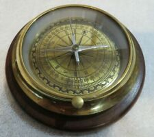 """Nautical Antique Brass Compass Desktop Stand 51/2"""" Wooden Base Made in india"""