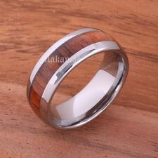 Tungsten Carbide with Hawaiian Koa Wood Wedding Ring Comfort Fit 8mm(Oval)