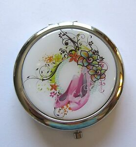Mirror/Compact- Pink Shoes with bows flowers white background --silver back