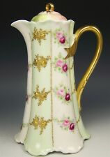 1900 LIMOGES HAND PAINTED ROSES & RAISED GOLD CHOCOLATE POT