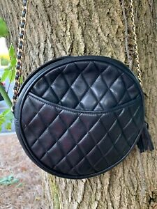 Brook Brothers Quilted Crossbody Bag Vintage Round Chain Black