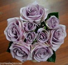 Silk Blue Lavender Lilac Rose Rose Posy Wedding Flower Bouquet Flowers 9 heads