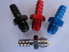 """BLUE Fitting For  Fuel Line 6an male threads to 3/8"""" Barb"""
