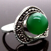 Alluring Green Emerald Topaz 925 Sterling Silver Ring Size #7/8/9/10