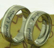2 anillos de Titanio Bodas Compromiso Con Circonia & Grabado Láser exterior