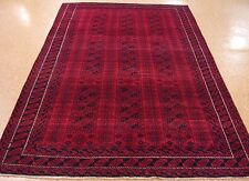 6 x 10 AFGHAN BALOUCH Tribal Hand Knotted Wool Deep RED NAVY NEW Oriental Rug