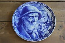 Vintage Boch Delft 10 inch Old Man Fisherman Wall Plate