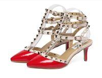 Stud Faux Leather Caged Strap Pumps Mid Heels Sandals Shoes Size 38-43