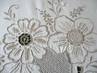 LARGE TABLECLOTH HAND EMBROIDERY - CREAM COTTON - 82'/66'
