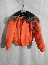 Polo Sport Vintage 90s N-3B Orange Snorkel Down Fur Hood Jacket Small Ralph...