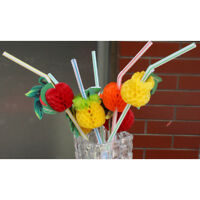 50/100PCS 3D Fruit / Cocktail Paper Umbrella Drinking Straws Party Decoration