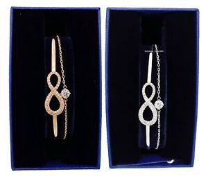 Authentic SWAROVSKI Infinity Rose Gold Rhodium Bangle Bracelet 5518871 5520584