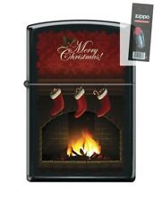 Zippo 218 merry christmas stockings by fireplace Lighter + FLINT PACK