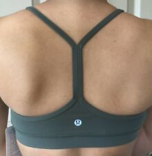 LULULEMON Size 8 Flow Y Bra Nulu Dark Forest Green Racer Back Top Run Energy NWT