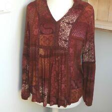 Next top tunic~Size 14 Red Burgundy ~Ethnic Bohemian~ Beaded~ Casual Comfort~LIB
