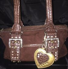 Kathy Van Zeeland brown faux-suede rhinestone/ Studded Buckle double strap purse