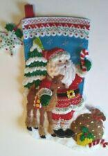"Beautiful Completely Handmade 18-In Christmas Stocking ""Nordic Santa"" Bucilla"