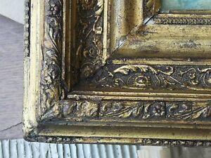 Cadre ancien XIXÈME en bois sculpté pour tableau feuillure 39x30 cm