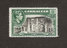 GIBRALTAR 1938 GVI 1s BLACK & GREEN with PERFORATION 14 SG127 MINT