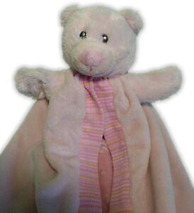 Russ Baby Pink Bear Security Blanket Minky Dot inside Stripe Trim