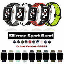 For Apple Watch Series 5 4 3 2 1 Silicone Sport Watch Strap Band 38/40/42/44mm