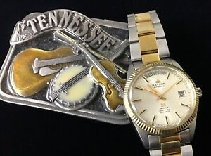 Auto vintage BAYLOR PRESIDENT WATCH 25 jewels day-date 2-tone solid links band