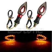 2x Universal Motorcycle 12 LED Bulb Turn Signal Indicators Blinker Amber Light