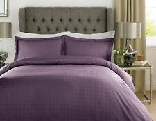 Purple Hotel Quality Duvet Cover Set Satin Check 400TC 100% Cotton Super King
